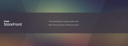 StoreFront + FAS: You cannot login using smart card: Smart card error